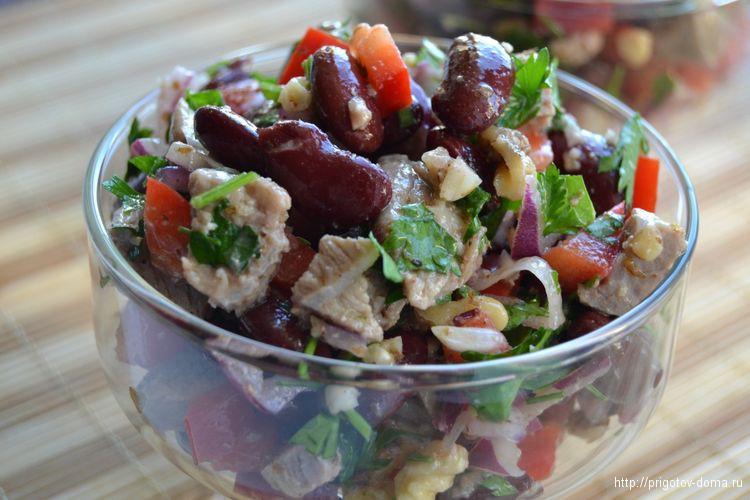 Салат из фасоли с мясом рецепты с