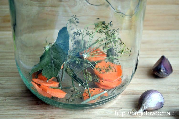 Кладем зонтик укропа, листья смородины и морковь