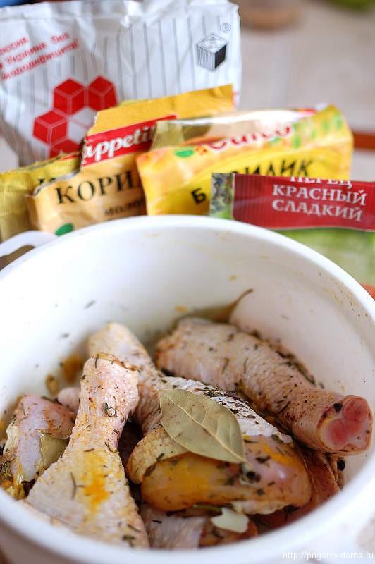 куриная голень в горчино медовом соусе