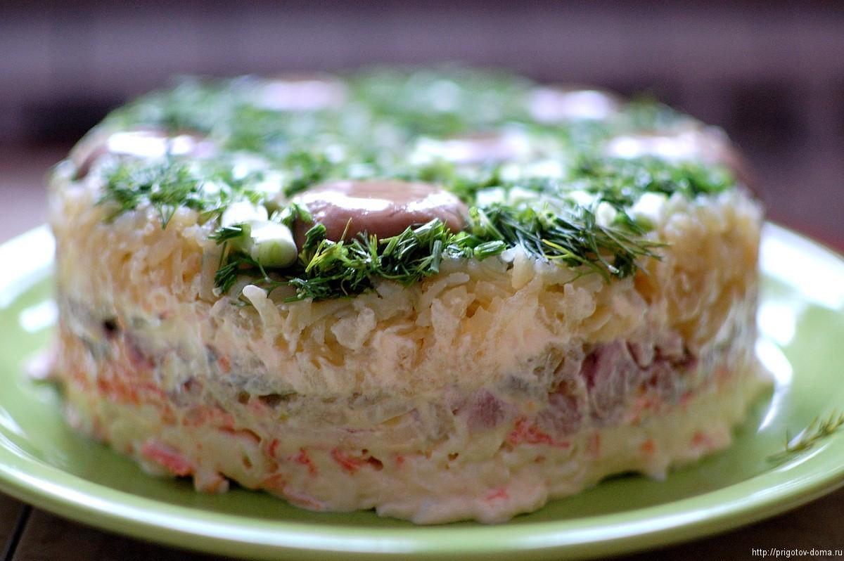 сих пор рецепт салата грибы под снегом с фото красным блестящим верхом