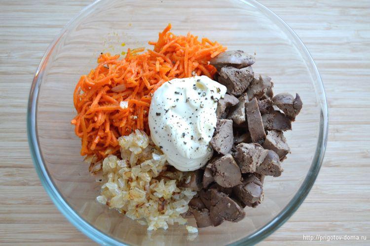 все ингредиенты салата складываем в салатник