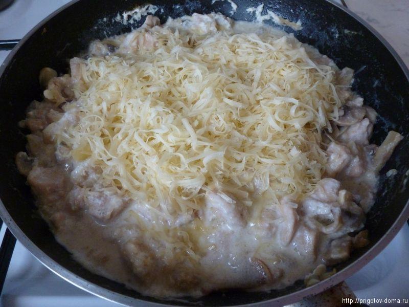 посыпаем жульен тертым сыром