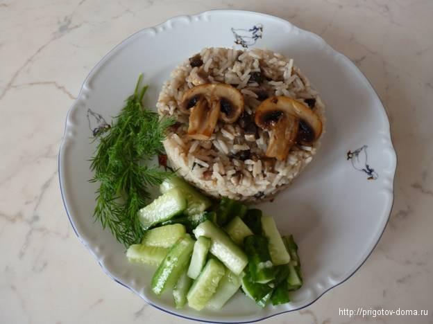 Постный риззото с грибами