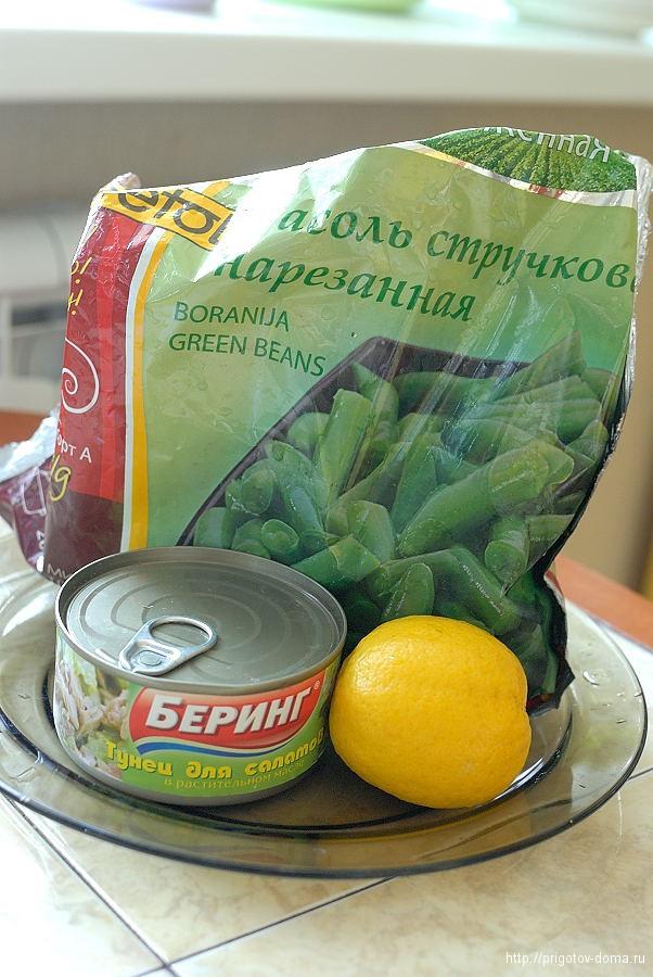 готовим дома салат из стручков фасоли с тунцом
