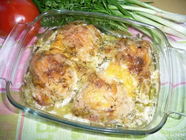 Куриные  бедрышки запеченные с сыром