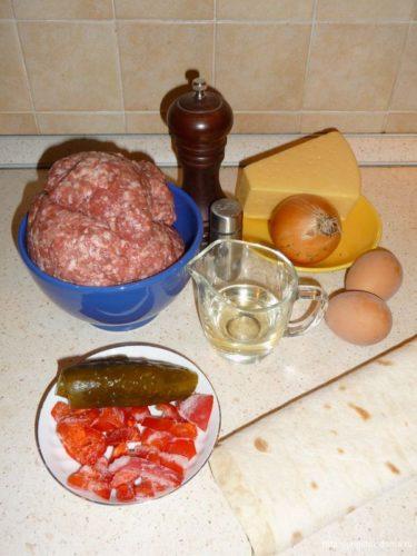 Ингредиенты для трубочек из лаваша с мясным фаршем