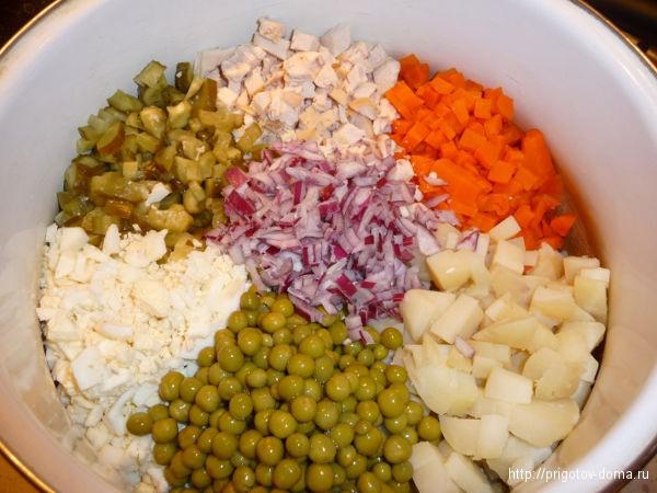 складываем все компоненты оливье в глубокую посуду