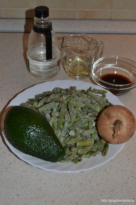 готовим салат из стручковой фасоли с авокадо и имбирем