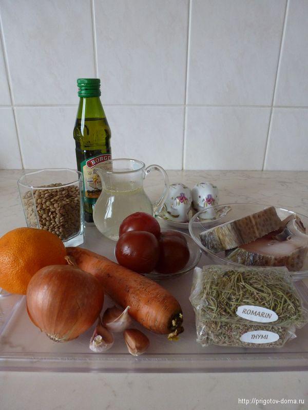 готовим треску с чечевицей