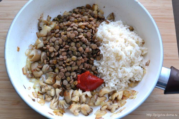добавим вареный рис и чечевицу