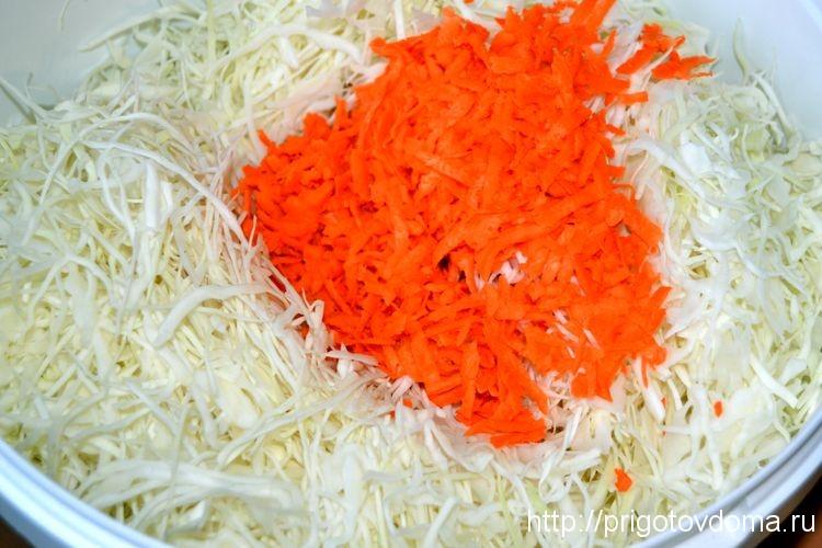 тертую морковь добавим в капусту