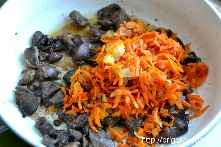 овощи и потрошка смешиваем в сковороде