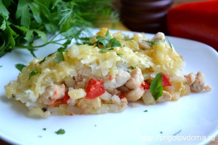 картофельная запеканка с овощами и мясом