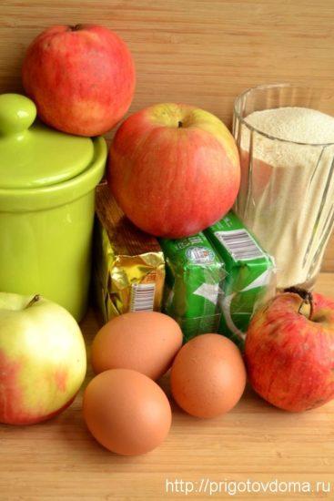 Ингредиенты для шарлотки с яблоками