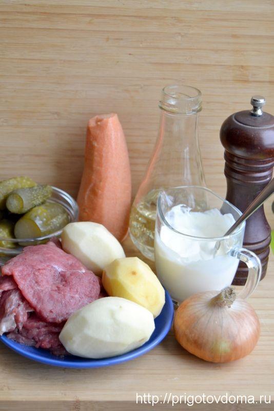 Ингредиенты для картофеля запеченного с мясом