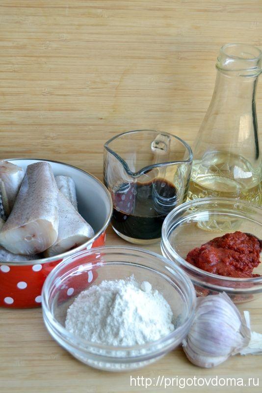 Ингредиенты для минтая в маринаде