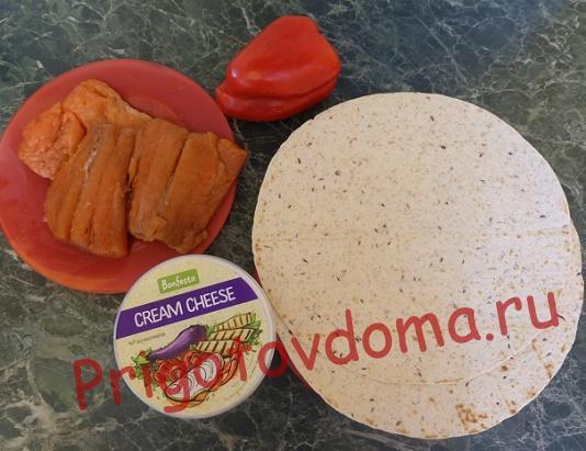 Ингредиенты для закуски Праздничной с лососем и сливочным сыром