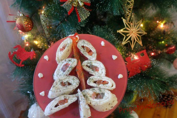 Закуска «Праздничная» с лососем и сливочным сыром