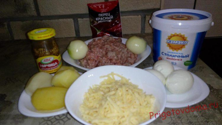 Ингредиенты для мясных колобков под картофельной шубкой