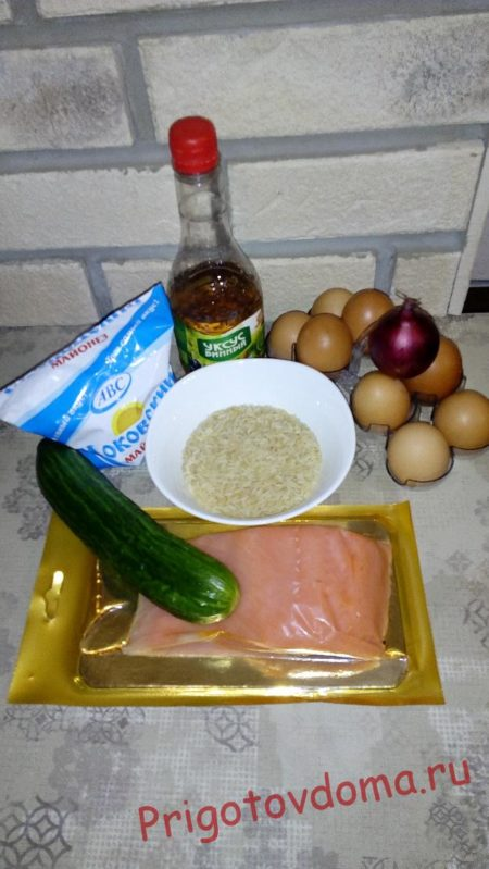 Вкусный салат с красной рыбой