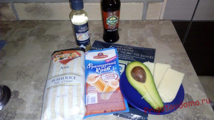 Ингредиенты для запеченных роллов